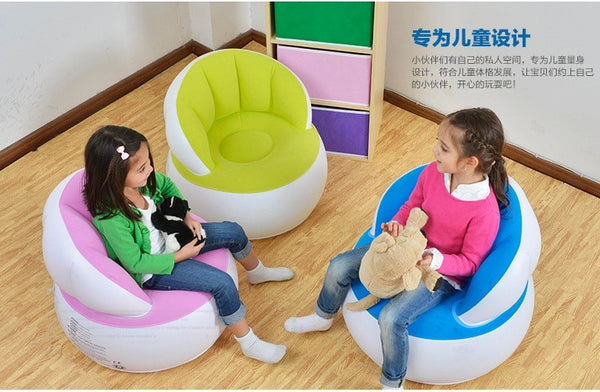 Kids Shell Lazy Recliner Flocking Inflatable Sofa Living Room Furniture