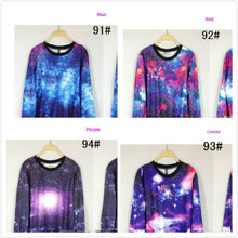 Load image into Gallery viewer, Chic Women's Galaxy Space Starry Print long Sleeve Top Round T Shirt Jumper Top2