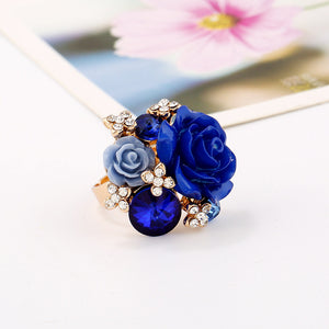 New fashionable sweet resin roses adjustable personality ring national wind ring
