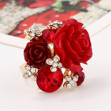 Load image into Gallery viewer, New fashionable sweet resin roses adjustable personality ring national wind ring