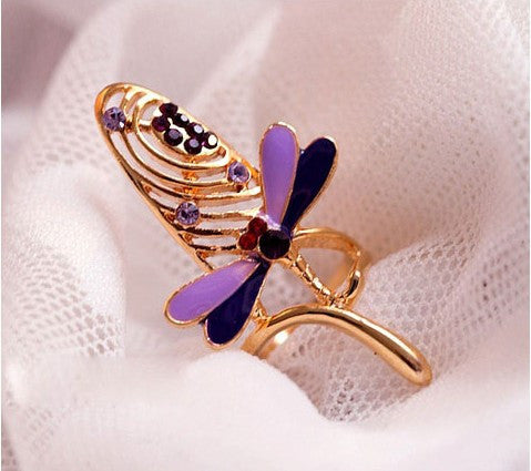 Fashion Personality Gold Alloy With Dragonfly Shape Nail Rings