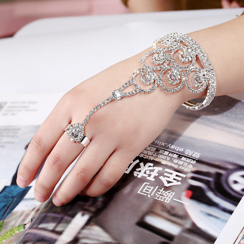 Europe and the United States fashion diamonds open bracelet ring full chain full of diamond claw chain back chain bridal jewelry