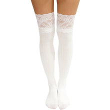 Load image into Gallery viewer, Vertical Striped Pattern Lace Over Knee Socks
