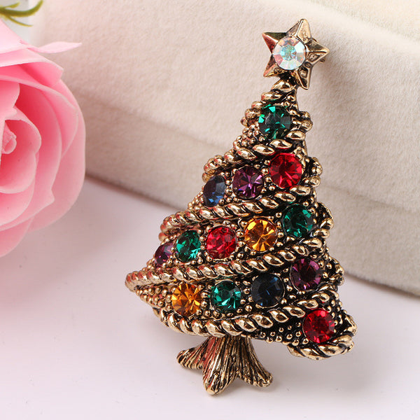 Christmas brooch creative gift suits accessories bracelet jewelry Europe and the United States retro diamonds Christmas tree pin