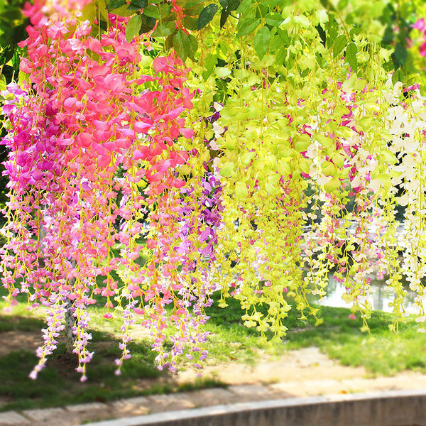 105cm/41in Fake Flower Vine Hanging Garland Artificial Flower for Home Decor Wedding DIY Decoration