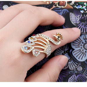 Fashion temperament diamond peacock ring