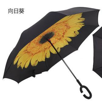 upside down reverse umberella Windproof Reverse Folding Double Layer Inverted Umbrella Self Stand Rain Protection Sunscreen C-Hook Hands