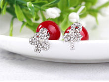 Load image into Gallery viewer, Snowflakes gifts elk snowflakes deer earrings snowflakes red double shell beads pearl double - sided earrings