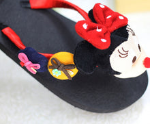 Load image into Gallery viewer, The new red Mimi black handmade cartoon character drag art buckle decoration non-slip flat-bottomed DIY leisure slippers