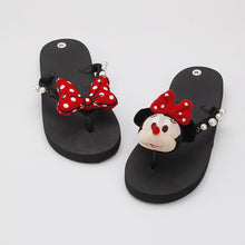 Load image into Gallery viewer, The new hand cartoon character trolley Zhu Dani bow decorated non-slip flat-bottomed DIY leisure slippers