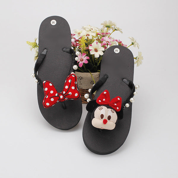 The new hand cartoon character trolley Zhu Dani bow decorated non-slip flat-bottomed DIY leisure slippers