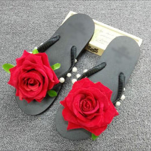 Hand stitching pearl flocking roses holiday beach slippers flattened flip flops with slippers slippers