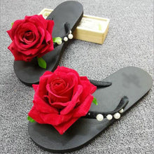 Load image into Gallery viewer, Hand stitching pearl flocking roses holiday beach slippers flattened flip flops with slippers slippers