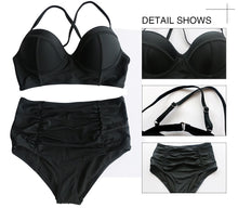 Load image into Gallery viewer, 2017 new European and American station fat girl to increase the size of sexy cross low collar high waist fold bikini split swimsuit