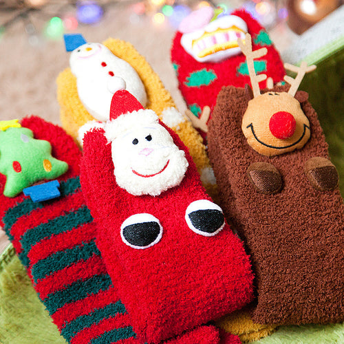 Christmas Trees Reindeer Santa Claus Snowman Coral Fleece Socks
