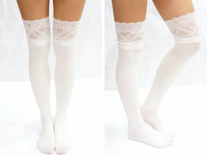 Vertical Striped Pattern Lace Over Knee Socks