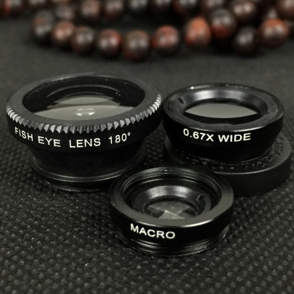 Wide angle fisheye macro three in one clip mobile phone lens