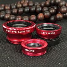 Load image into Gallery viewer, Wide angle fisheye macro three in one clip mobile phone lens