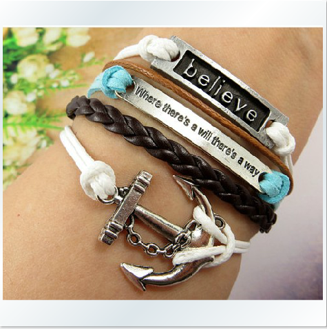 The Retro English Horizontal Believe Anchor Hand-Woven Leather Cord Bracelet