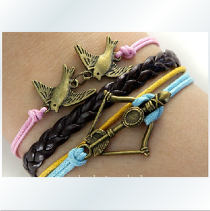 Bronze love birds bows multi-layered bracelet