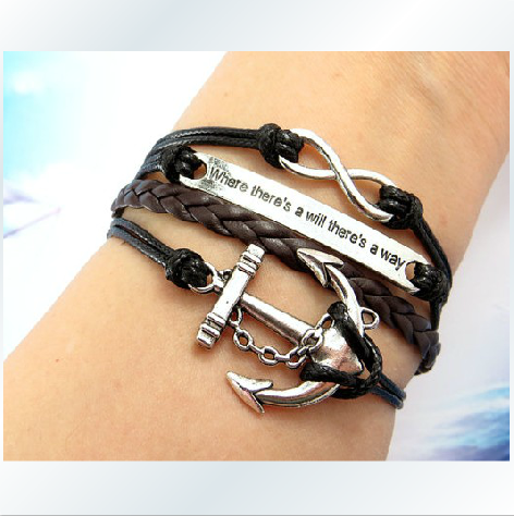The Retro Romantic Password Anchors English Horizontal Four Bracelet