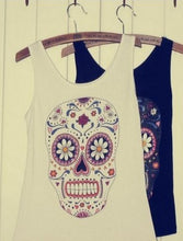Load image into Gallery viewer, White Color Vest with Skull and Floral Pattern
