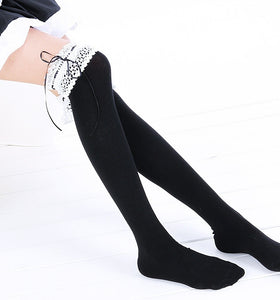 Preppy Cotton Lace Over Knee Socks Boot Socks