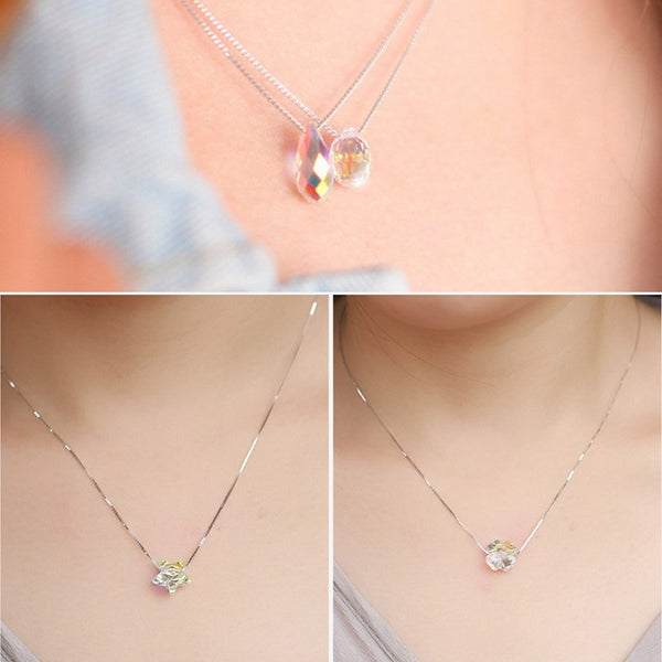 Austria crystal sugar  fashion chain clavicle 925 Sterling Silver Necklace female short sterling silver jewelry
