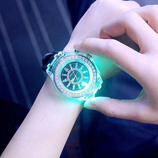 Luminous personality Rhinestone led Harajuku fashion creative silicone jelly watch lovers of male and female students 7 colors change