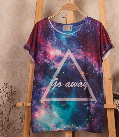 Gradient universe Star hit-color the triangular fight sleeves female short-sleeved T-shirt 3