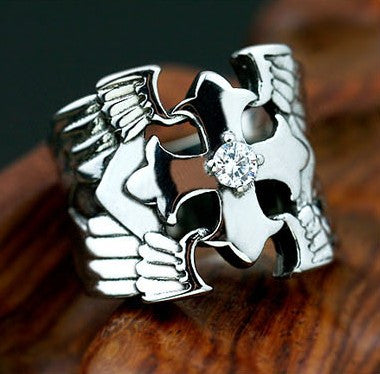 Holy Spirit cross the fine men and women of titanium steel Ring