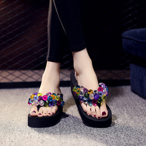 Slippers, thick bottom, slope and 70 colorful gemstones, fashionable herringbone slippers, beach shoes