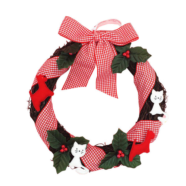 Christmas Wreath With Bow Cat