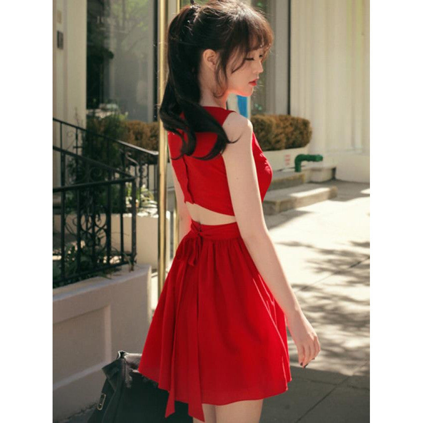 Sweet Backless Bow Chiffon A Dress