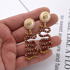 New Snake Earrings pearl earrings earrings earrings Baroque retro fashion versatile Earrings