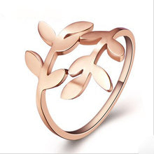 Load image into Gallery viewer, 18K the color gold love leaves openings titanium steel ring