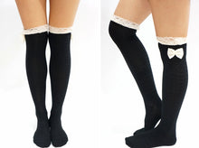 Load image into Gallery viewer, Lace Bow Hear Pattern Over Knee Socks