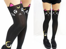 Load image into Gallery viewer, Lovely Sailor moon Luna Cat Thigh High Tights