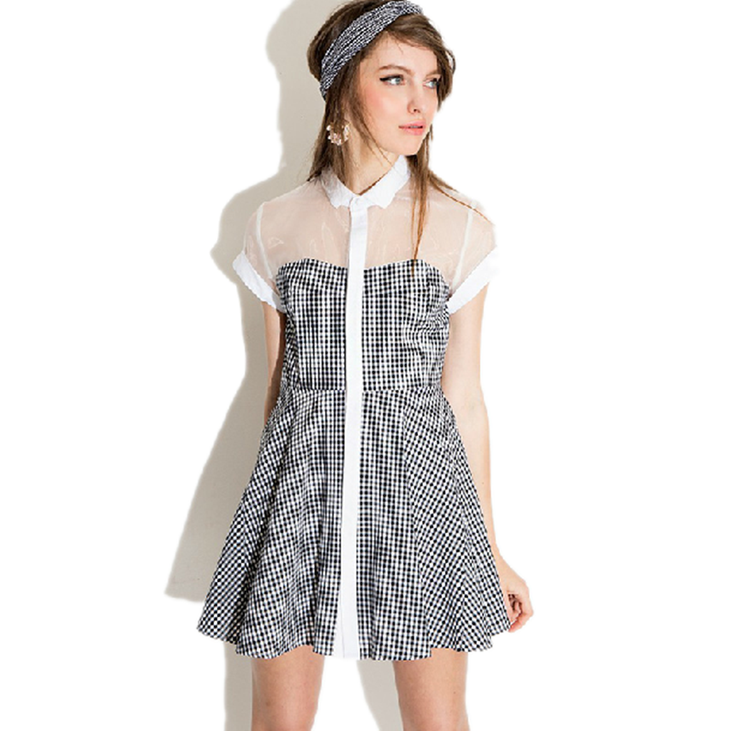 Sweet Gauze Blocking B&W Check A Dress