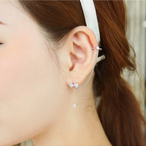 Sweet Rhinestone Bow Dangling Earring