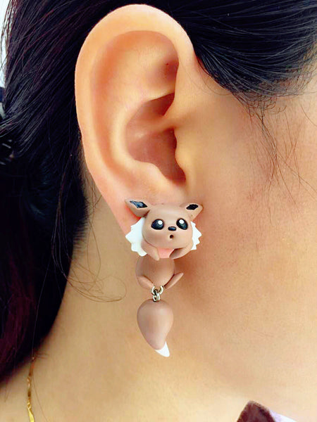 Handmade Polymer Eevee Two-part Earrings