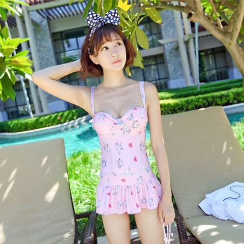 Harajuku Kawai Unicorn Print One-piece Swimsuit