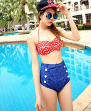 Load image into Gallery viewer, High-waist Denim Dots Bikini