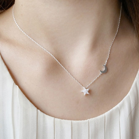 Simple Moon Star Necklace