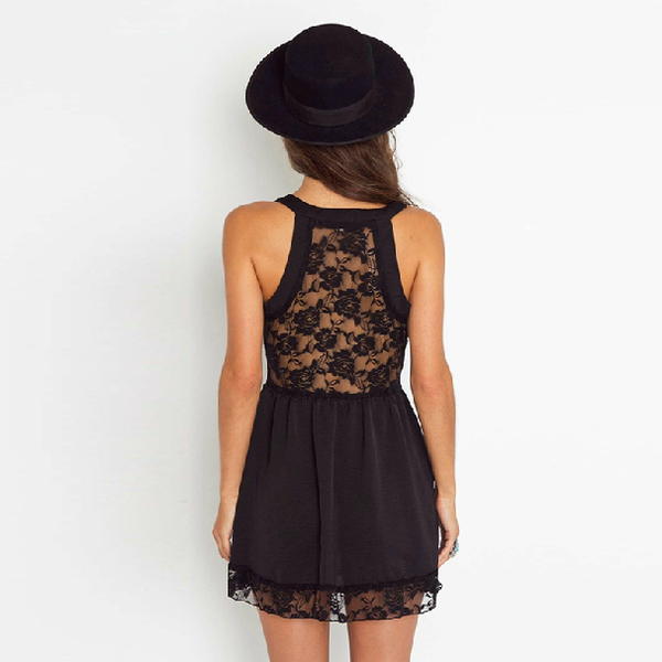 Back Lace See-through Sleeveless Strap Dress