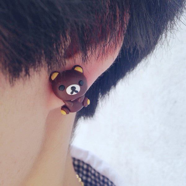 Unique Handmade Two-part Rilakkuma Earrings