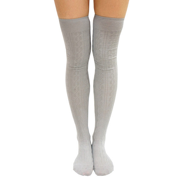 Braided Pattern Over Knee Socks