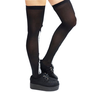 Halloween Gothic Skeleton Over knee Socks
