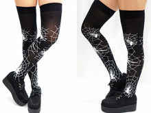 Load image into Gallery viewer, Halloween Gothic Spider Web Over Knee Socks
