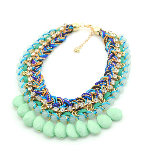 Bohemian Hand-knitted Beads Statement Necklace